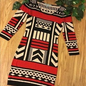 Flying Tomato Red, Black & White  Sweater Dress S